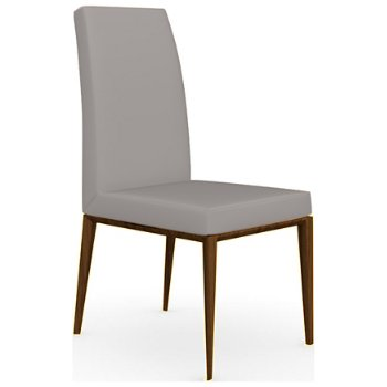Shown in Walnut finish, Leather Taupe fabric