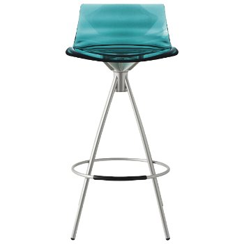 Shown in Transparent Aquamarine, Satin Finished, Counterstool