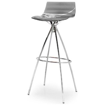 Shown in Transparent Smoke Grey, Chromed, Counterstool