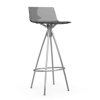 Shown in Transparent Smoke Grey, Satin Finished, Barstool