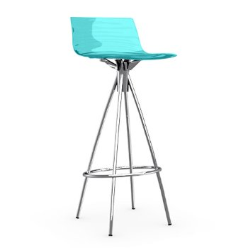 Shown in Transparent Aquamarine, Chromed, Barstool