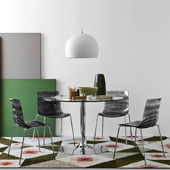 Planet Large Glass Table with L'Eau Chair