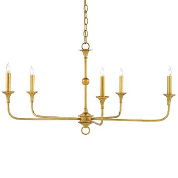 Shown in Contemporary Gold Leaf finish, 5 Light