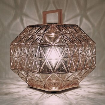 Shown lit in Pink Gold glass