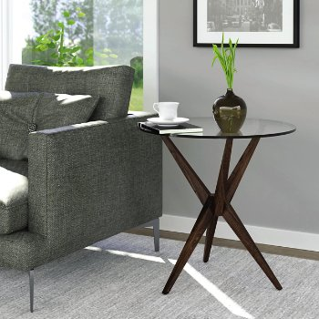 Statements Converge Round End Table, in use