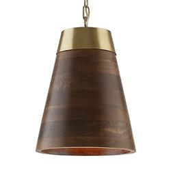 Wood and Brass Cone Pendant