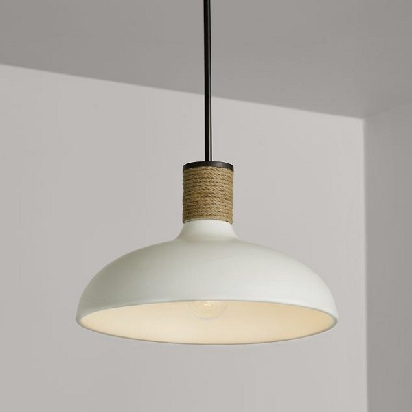 Ceramic and Rope Dome Pendant Light