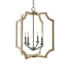 Wooden Farmhouse 4-Light Foyer Pendant Light