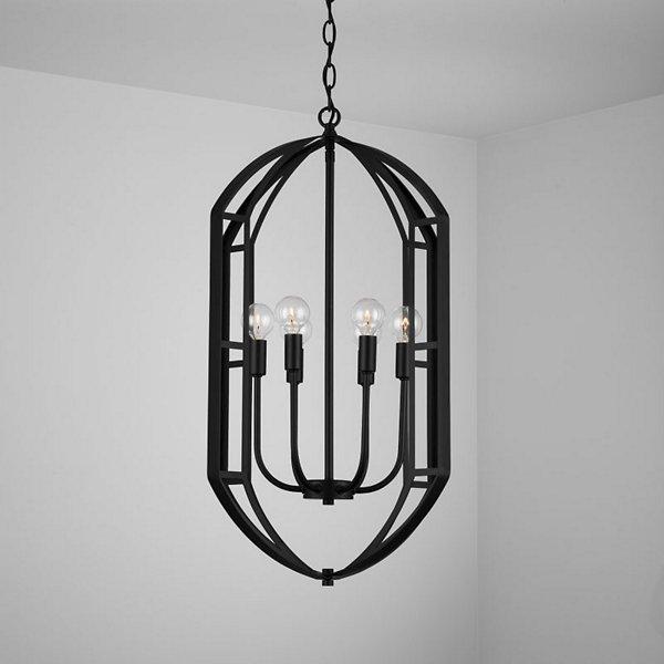 Caged Metal 6-Light Foyer Chandelier
