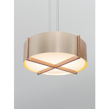 Shown in Distressed Brass shade with Dark Stained Walnut wood body
