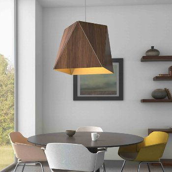 Shown in Oiled Walnut, Brushed Brass shade, Large