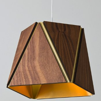 Shown in Oiled Walnut, Brushed Brass shade, Small