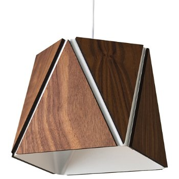 Shown in Oiled Walnut outer shade, Brushed Aluminum inner shade