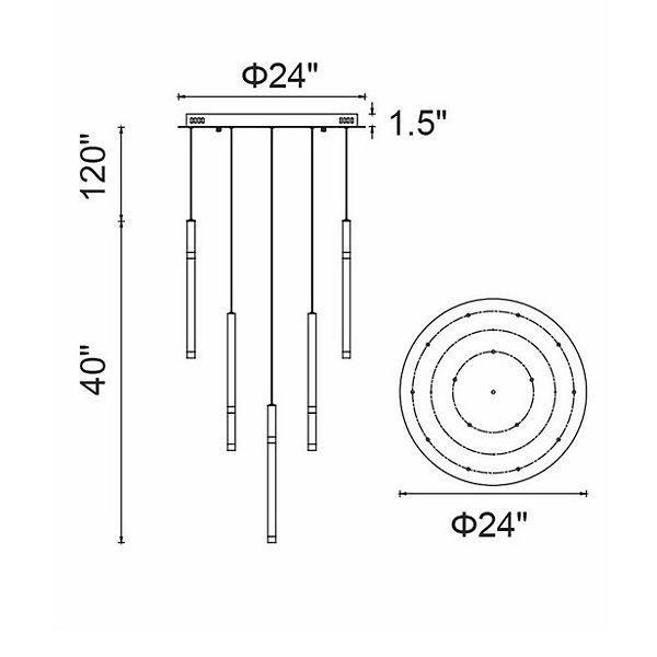 Flute Round LED Multi-Light Pendant