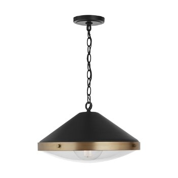 Shown in Aged Brass with Black finish, lit