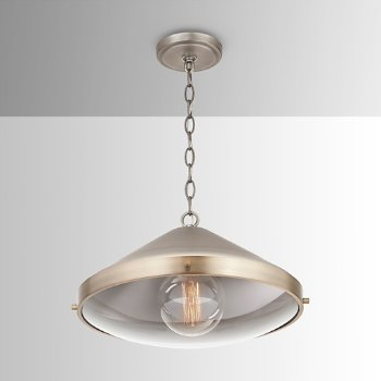 Shown in Antique Nickel finish, lit, in use