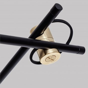 Shown in Polished Brass finish, Black color, Detail view