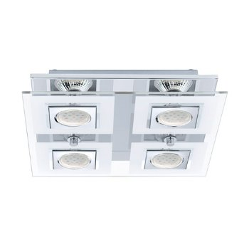 Shown in Chrome finish with Clear Shade color, 4 Light