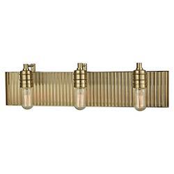 Corrugated Satin Brass Bath Bar