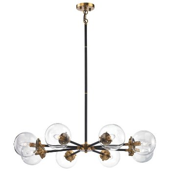 Shown in Matte Black and Antique Gold with Clear Glass, 8 Light