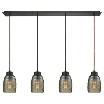 Shown in Oil Rubbed Bronze with Champagne Plated Shade color,4 Lights