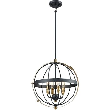 Shown in Satin Brass finish with 4 Lights, lit