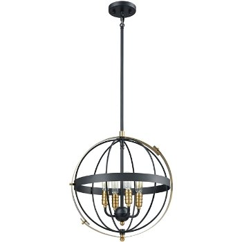 Shown in Satin Brass finish with 4 Lights, unlit