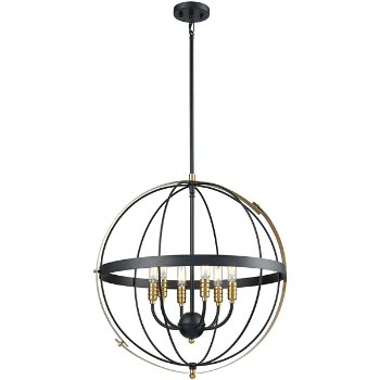 Shown in Satin Brass finish with 6 Lights, lit