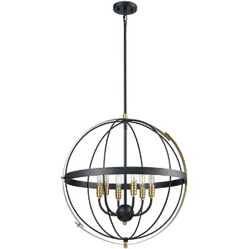 Shown in Satin Brass finish with 6 Lights, unlit