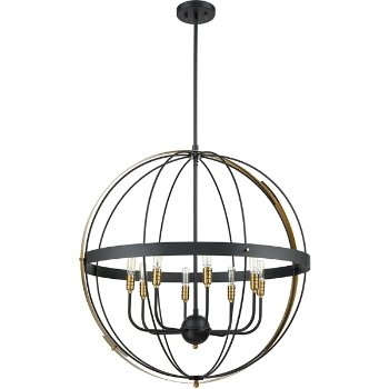 Shown in Satin Brass finish with 8 Lights, unlit