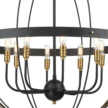 Shown in Satin Brass finish with 8 Lights, lit