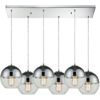 Shown in Polished Chrome finish with 6 Light, lit