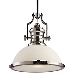 Chadwick Dome Pendant (Polished Nickel w/ Frosted)-OPEN BOX