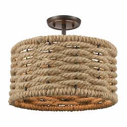 Weaverton 2-Light Semi Flushmount (Bronze w/ Rope)-OPEN BOX
