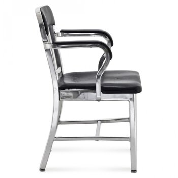 Shown in Polished Aluminum / Black Vinyl Upholstery finish