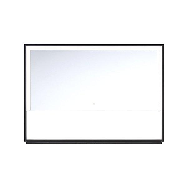 Rectangular LED Mirror with Black Frame