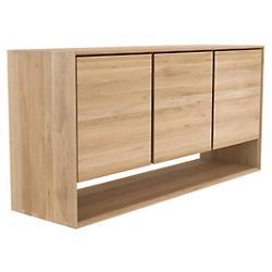 Oak Nordic Sideboard - 3 Open Doors