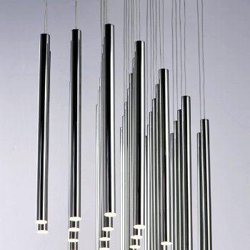 Flute LED Rectangular Mulit-Light Pendant, in use