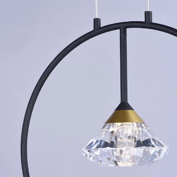 Shown in Black / Metallic Gold finish, lit, in use, Detail view