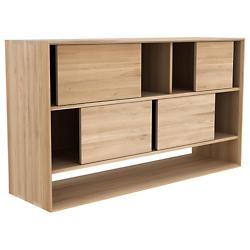 Oak Nordic Book Rack 4 Sliding Doors