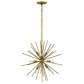 Shown in Burnished Gold finish, 8 Light