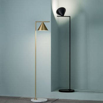 Shown in Brass finish with White Carrara Marble, Black finish with Black Marquina Marble