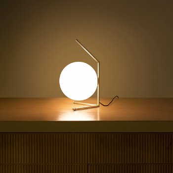 Shown in Brass finish, in use, lit