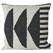 Kelim Throw Pillow - Black Triangles