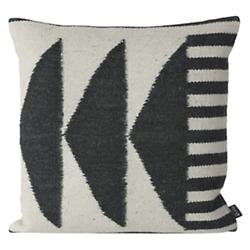 Kelim Throw Pillow - Black Triangles