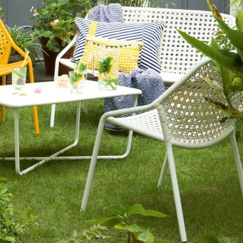 Croisette Bench with Croisette Armchair Set of 2 and Croisette Low Table