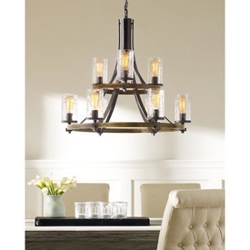 Shown in Distressed Weathered Oak / Slated Grey Metal finish, lit
