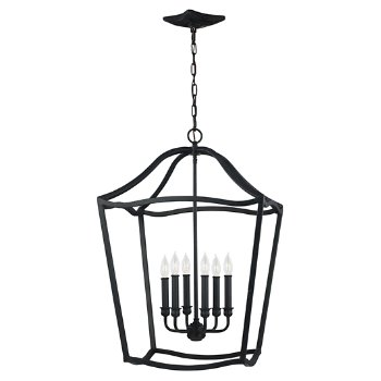 Shown in Antique Forged Iron finish, 6 light