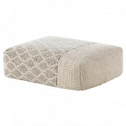 Mangas Rectangular Rhombus Pouf (Ivory) - OPEN BOX RETURN