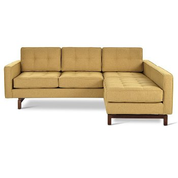 Shown in Stockholm Camel with Walnut Legs finish